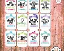 Printable Pregnancy, Milestone cards  Set of 26,Pregnancy Progress, Photo Prop,Pregnancy Track,Maternity Photo Prop,Pregnancy Sign Mom To Be