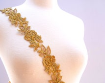 "Medallion Gold/ Tan Beaded Lace Magificently Regal Flower Lace Accented with Beading 1.5"" wide"