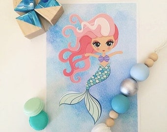 Girls Mermaid A4 Room Print, Under The Sea, Girls Decor, Room Print