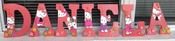 Girl Monogram Letters,Hello Kitty Monogram Letters, Girls Wall Decor,Cute Monogram Letters, Wood Letters, Girls Room Decor