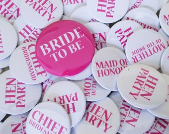 Hen Party Badges for Hen Night - Bride to Be, Bridesmaid, Maid of Honour Badge