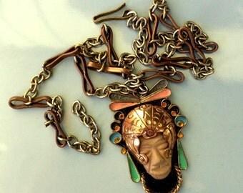 Mexican Cobre Copper Necklace – 1950's Mayan God - Copper, Ceramic, Cloisonné, Enamel Pendant