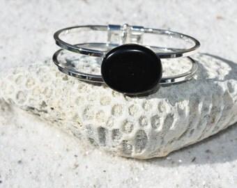 Apache Tears Stone Silver Bangle Cuff Bracelet