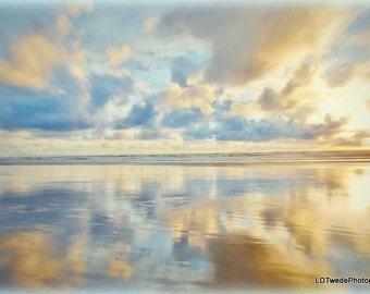 Sunset Photograph, Seascape Art, Reflection, Seashore, Dramatic Sky, Clouds, Beach, Waves, Beach Art, Oregon Coast, Fine Art Print