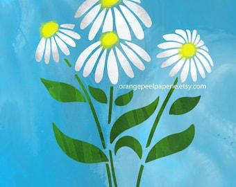 Daisy Print, Daisy Wall Art, Digital Daisy Art, Nursery Flower Art, Flower Prints Wall Art, Printable Floral Art, Daisy Printable, Print Art