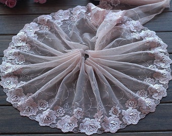 High Quality Floral Embroidered Lace Trim  Tulle Lace Trim 8.26 Inches Wide 2 yards X0144