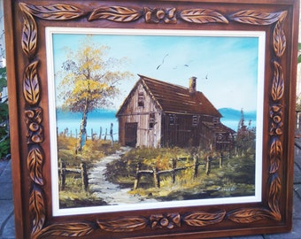 """Original Vintage oil painting """"The old barn"""" 20th century American School Hand Carved Wooden Frame"""
