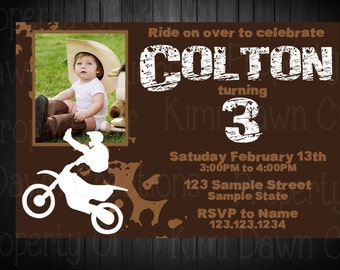 Dirt Bike Birthday Invitation. Digitial Deivery. Custom