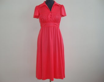 Vintage 1970's Nu-Mode Coral / Pink / Orange Empire Waist Dress