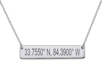 GPS Coordinates Sterling silver Bar Necklace 1.5 inch Silver Bar Necklace Latitude Longitude necklace Coordinates made with 925 silver