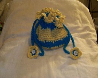 Crocheted cotton drawstring bag.