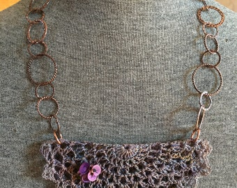 Vintage Doily Necklace with Flower