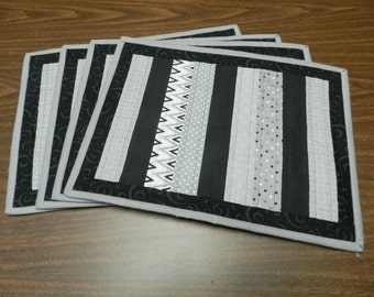 Black And Gray Placemats, Kitchen Table Mats, Kitchen Place Mats, Gray  Striped Placemats