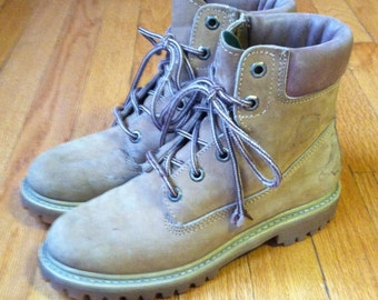 Free shipping Vtg Combat lace up ankle leather boots women's US 7