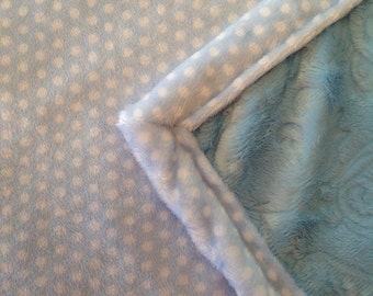 Boy Blue White Baby Quilt, Minky Cuddle Baby Blanket, Boy Blue White Polka Dot Quilt, Minky Shannon Nursery/Crib Bedding Sale Clearance Sale