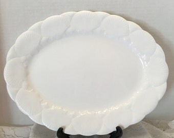 "Wedgwood Oceanside Oval Serving Platter ~ 15"" Long ~ Embossed Fan Seashells ~ Bone China ~ England ~ Vintage"