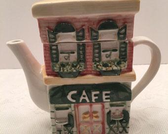 Vintage Teapot ~ Cafe Design ~ Pink Green Yellow ~ Virginia Vintage
