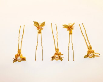 Set of Fresh Water Pearl and Antique Brass Hairpins