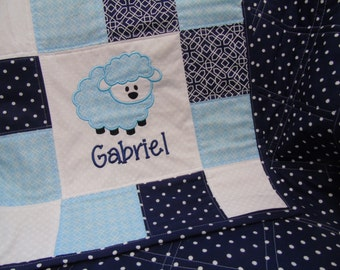 Lamb Baby Quilt, Personalized Baby Quilt, Boy Baby Quilt, Blue Baby Quilt, Keepsake Baby Quilt, Embroidered Baby Quilt, Lamb Nursery