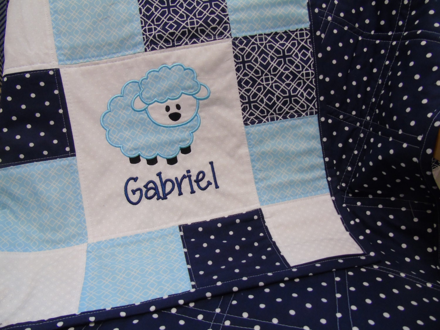 Lamb Baby Quilt Personalized Baby Quilt Boy Baby Quilt Blue