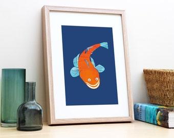 Navy blue and orange poster print of an Australian flathead fish. Boy's nursery or bedroom wall art. Home decor. Gift for fishing boyfriend.