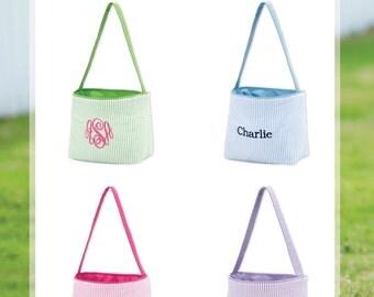 Monogram Easter basket-Easter bucket-personalized basket-monogram-Easter-seersucker-toy bucket-monogram tote-monogram bucket-monogram basket