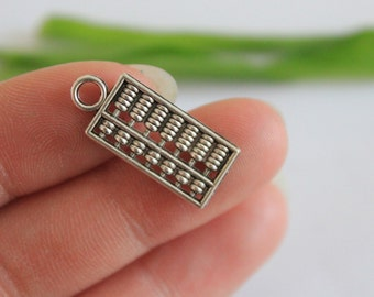 wholesale-30pcs  Chinese Abacus Charms Abacus Pendants Antique Silver Tone 2 Sided 10*24mm