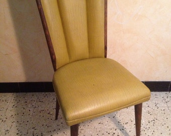 Leather green foot compass Vintage 60s wood arm chair
