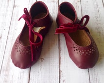 Vintage inspired ankle tie toddler shoes - Little girl shoes - leather toddler shoes - Violet Red shoes - Soft flexible rubber sole shoes