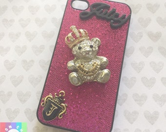 Juicy teddybear 3D bling phone case- 1pc Apple Iphone 4/4s Cell phone case sale