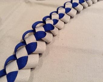 Hand fasting Cord-Royal Blue + White- Celtic Wedding Pagan Wedding Binding Cord