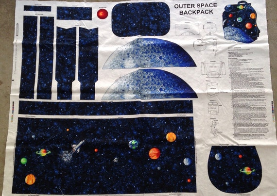 Outer space solar system moon pocket backpack fabric panel for Space fabric panel