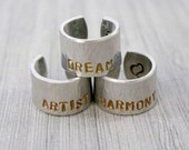 Create Your Own- ONE Large Personalized Hand Stamped Hammered Wide Cuff Style Inspirational Ring