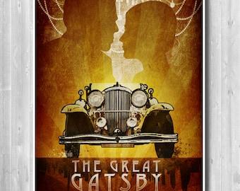 The Great Gatsby Poster, Retro Prints, Rolls Royce print, Travel poster, Novel by F. Scott Fitzgerald, Long Island, Leonardo DiCaprio