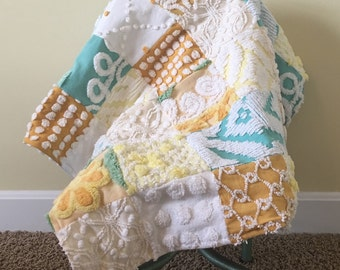 FREE SHIPPING- Chenille Patchwork Blanket