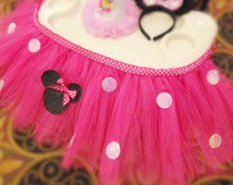 Minnie Mouse high chair tutu, birthday high chair tutu, high chair skirt, pink high chair skirt, pink table tutu skirt Minnie Mouse birthday