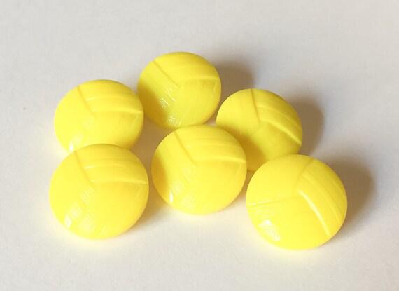Lemon yellow vintage glass button lot 6pc from 909funfinds for Lemon button