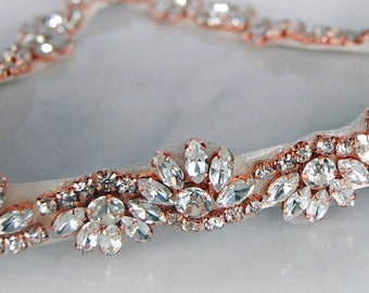 Vintage Art Deco Style ROUGE Rose Gold Rhinestone Diamante Velvet Belt Sash Bridal * Any colour ribbon * Can Make Straps Message Me