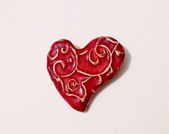 Red heart brooch, Ceramic brooch, Porcelan jewerly, Red, Valentine's Day