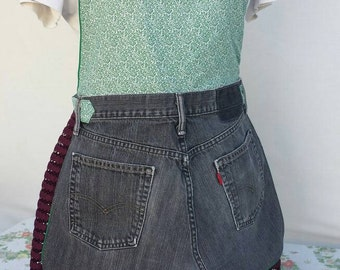 Green and black full apron