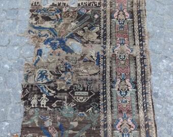 Antique Karabagh Armenian Rug Fragment,33u0027u0027x56u0027u0027 85x143cm