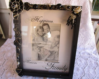 Jeweled Photo / Picture Frame Black Silver