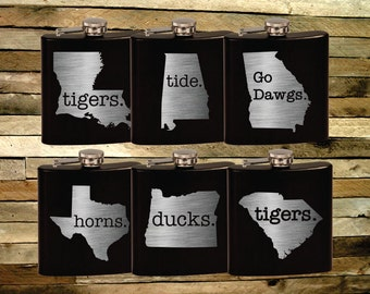 Custom Team Pride Flask. States with College Mascots. Pocket Flask. Sports Fan Gifts. Mancave. Tailgating Tools