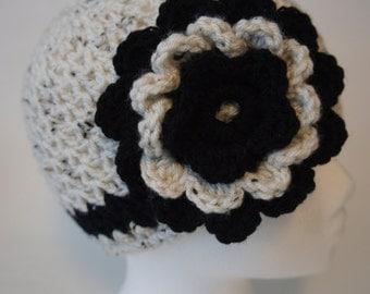 Crochet Flower Stripe Beanie