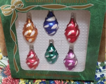 Vintage Christmas Ornaments, Small, Made in Mexico by Bradford, Mercury Glass Bulbs