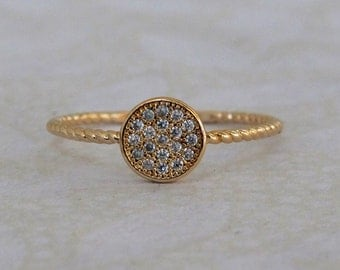 CZ Gold Ring, Round Gold Ring, Bridesmaid Ring, Gold Ring, Round Gold Ring with CZ stones