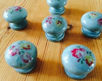 Cath kidston drawer door pull knob handle duck egg blue floral - set of 6