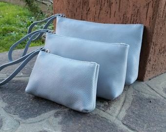 Leather clutch. Leather evening clutch. Leather cosmetic case cosmetic bag. Wrist clutch