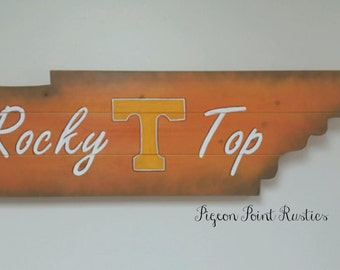 Tennessee Vols Sign, Custom Wooden State Sign - Rocky Top Tennessee / UT. 3' long x 1' tall