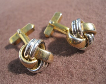 Cuff Links Two Tone Vintage Swank, Knot Motif